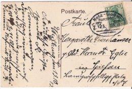 MOSELLE CARTE POSTALE 1913 AVEC OBLITERATION FERROVIAIRE ALLEMANDE METZ-GIESSEN ZUG 123 - Marcophilie (Lettres)