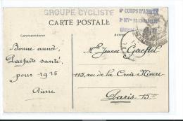 MILITARIA GUERRE 1914 1918 CACHET GROUPE CYCLISTE 6e CORPS D´ARMEE CAVALERIE CYCLISME