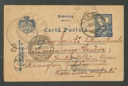 1918 POSTAL STATIONERY  ROMANIA  IASI  MILITARY  CENSOR TO GENEVE RED CROSS VIA RUSSIA  PETROGRAD , OLD POSTCARD    ,O - Entiers Postaux