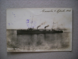 Cartolina Fotografica Esploratore MARSALA 4 Aprile 1915. Con Timbro Della Nave - Guerra