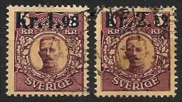 SWEDEN SVERIGE 1917 - King GUSTAV V - New Value Imprint - 2v Compl. Mi 107-108 ʘ Canc. Cv€12,00 J618 - Suède