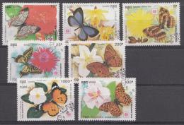 CAMBODJA  MI.NR. 1253-1259 VLINDERS SCHMETTERLINGE USED / GEBRUIKT / OBLITERE 1991 - Camboya