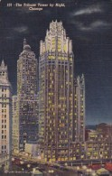 Illinois Chicago The Tribune Tower By Night 1951 - Chicago