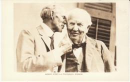 Henry Ford & Thomas Edison Famous Inventor Industry Pictured On C1940s/60s Vintage Postcard - Célébrités