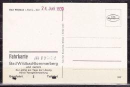 Bergbahn Bad Wildbad-Sommerberg, Bild-Fahrkarte 24.6.1939, Hin- Und Rueckfahrt (41642) - Bahn