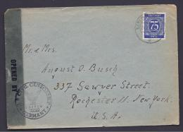 Germany1947: US Censored Cover With Michel926 To NY - American,British And Russian Zone
