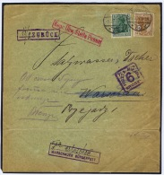 Cover Berlin 1917 To Warschau, Stempel : Warschauer Bürgerpost, Zuruck (44 Mm, Fi 36), Poczta Miejska Nr 2)