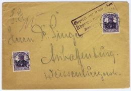 Cover  1916 Stempel Bausk / Bauska (Letland) Oberbefehlshaber Ost Mi 7a 2 X