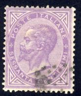 Effigie Di Vittorio Emanuele - 1863 - 60 Cent. Lillà Scuro Torino (Sassone T21a) - 1861-78 Vittorio Emanuele II