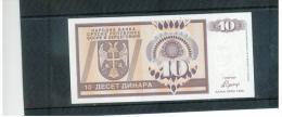 BOSNIA - Herzegovina , 1992 ,Narodna Banka Srpske Republike Bosne I Hercegovine , 10 Deset Dinara ,  Pick # 33 - Bosnia Y Herzegovina