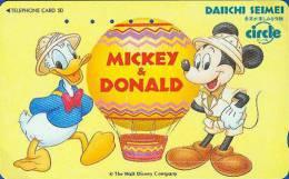 Télécarte Japon DISNEY / 110-011 - Donald & Mickey Montgolfière - Hot Air Balloon Japan Phonecard - Disney