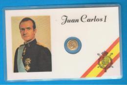 Juan Carlos I Rey De España - Medallita Dorada En Ficha Plastificada - Monarquía/ Nobleza
