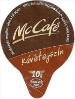 McDONALD´S FAST FOOD RESTAURANT McCAFE COFFEE CREAM SUGAR PRINTED IN GERMANY MILK TOP MILK LID Mc Tejszin 2008 * Hungary - Milchdeckel - Kaffeerahmdeckel