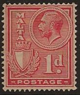 MALTA 1926 1d Rose-red KGV SG 159 HM VD415 - Malta (...-1964)