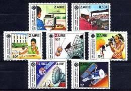 ZAIRE 1984, SATELLITES, TELEPHONE... MOYENS DE COMMUNICATION, 7 Valeurs, Neufs / Mint. R086 - Africa
