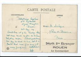 LEGION ETRANGERE VOLONTAIRE ANGLAIS 1914 CACHET DEPOT 2me ETRANGER ROUEN LE COMMANDANT