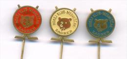 """Croatia Ice Hockey Club HK """"Medvescak"""" Zagreb, Set Of 3 Different Pins. Old Pins From 1970th. - Other"""