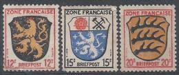 Allemagne Occ. Frse N°6 à 8 (*) NsG - Zona Francese