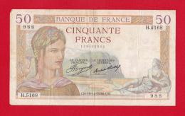 """BILLET DE 50 FRANCS  """" CERES """" DU 19-11-1936  H.5168 - 50 F 1934-1940 ''Cérès''"""