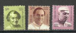 INDIA, 2008, DEFINITIVES, Definitive Series) Set 3 V, Indira And Rajiv Gandhi,Jawaharlal Nehru,  MNH, (**) - Nuevos