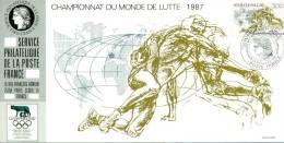 039 Carte Officielle Exposition Internationale Exhibition Olymphilex FDC 1987 France Championnat Lutte Sport Sports - Esposizioni Filateliche