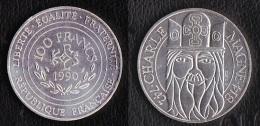 "SUPERBE ET ASSEZ RARE---PIECE 100 FRANCS ARGENT 1990 ""Charlemagne""---ETAT : SUP//SPL - N. 100 Francs"