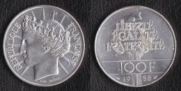 """SUPERBE---PIECE 100 FRANCS ARGENT 1988 """"Fraternité""""---ETAT : SUP+ - N. 100 Francs"""