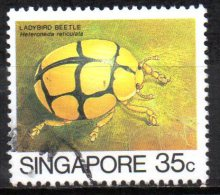 "SINGAPORE 1985 Insects -  35c. - ""Heteroneda Reticulata"" (ladybird)   FU - Singapore (1959-...)"
