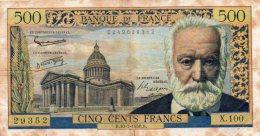 - BILLET De 500 F. Victor Hugo  - B.10- 7 - 1958.B. -  461 - 1871-1952 Anciens Francs Circulés Au XXème