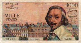 - BILLET De 1000 F. RICHELIEU - F.1- 3 - 1956 .F. -  463 - 1 000 F 1953-1957 ''Richelieu''