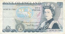 BILLETS  - GRANDE GRETAGNE- BANK OF ENGLAND  FIVE POUNDS - 1952-… : Elizabeth II
