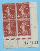 Semeuse 30 C. Rouge En Bloc De  4 Coin Daté - 1906-38 Sower - Cameo