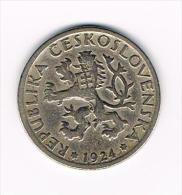 - TSJECHOSLOWAKIJE  1 KORUNA  1924 - Tchécoslovaquie