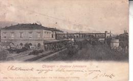 CHIAVARI GENOVA STAZIONE FERROVIARIA ANIMATA VIAGGIATA 1908 X BASTIA ORIGINALE D´EPOCA 100% - Genova (Genoa)
