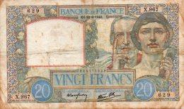 - BILLET De 20 F. SCIENCE Et TRAVAIL  - EG. 22=8=1940 . -  467 - 1871-1952 Anciens Francs Circulés Au XXème