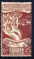 50° Della Morte Di Mazzini - 1922 - 25 Cent. Bruno Rosso (Sassone 128) - 1900-44 Vittorio Emanuele III