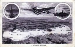 Ungarn BALATON Plattensee Wasserflugzeug Dampfschiff Segelboot Panorama, 1915? - Ohne Zuordnung