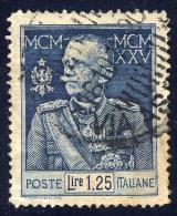 Giubileo Del Re - 1925/26 - 1,25 Lire Azzurro (Sassone 188) - 1900-44 Vittorio Emanuele III