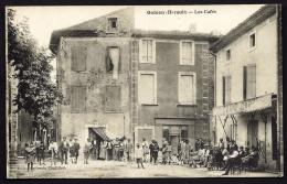 CPA ANCIENNE- FRANCE- GABIAN (34)- LES CAFÉS SUR LA PLACE- TRES BELLE ANIMATION GROS PLAN- - Francia