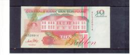 SURINAME -  9.7.1991   ,  10  Tien  Gulden ,  Pick # 47  ,  Circ. - Suriname