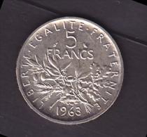 Pièce 5 Francs France 1963 - Semeuse En Argent - France
