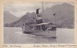"""Cp , TRANSPORTS , Lac D'Annecy , Le Vapeur """"France"""" , Duingt Et Montagnes D'ntrevernes - Commerce"""