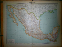 ANCIENNE CARTE   MEXIQUE   DIM 57 X 45 CM - Topographical Maps