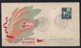 1952, SOBRE CONMEMORATIVO, I EXPOSICIÓN FILATÉLICA DE SITGES - 1931-Hoy: 2ª República - ... Juan Carlos I