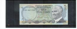 TÜRKEi , TURKEY  ,  5  Bes Türk Lirasi    Pick#121 - Turkey