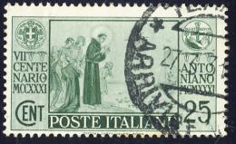 S. Antonio Da Padova - 1931 - 25 Cent. Verde (Sassone 293) - Usati