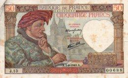 - BILLET De 50 F. Jacques COEUR - A..5- 9 - 1940 .A. -  471 - 1871-1952 Anciens Francs Circulés Au XXème