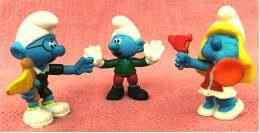 3 Fußball-Schlümpfe Von McDonald 2006 - Aus Kunststoff / Gummi - Biegsam - Action- Und Spielfiguren