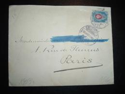 LETTRE POUR FRANCE TP 20K OBL. 26 AMP 1901 + ARRIVEE CACHET 12 MAI 01 8 PARIS 8 DISTRIBON - 1857-1916 Imperium