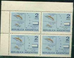 ARGENTINA BLx4 ISLANDS, ORCADAS, GEORGIAS, SANDWICH MNH BROWN COLOR MISSPLACED 00103788 - Argentina